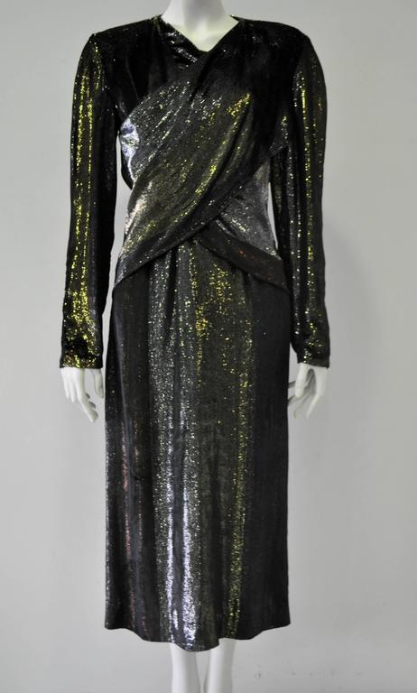 Rare Paco Rabanne Velvet Hues of Silver, Gold and Copper Lame Cross Front Bodycon Disco Dress