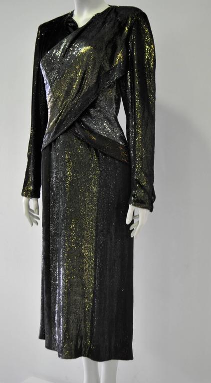 Rare Paco Rabanne Velvet Lame Cross Front Bodycon Disco Era Dress 3