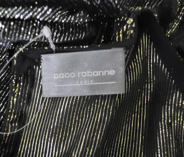 Rare Paco Rabanne Velvet Lame Cross Front Bodycon Disco Era Dress 5