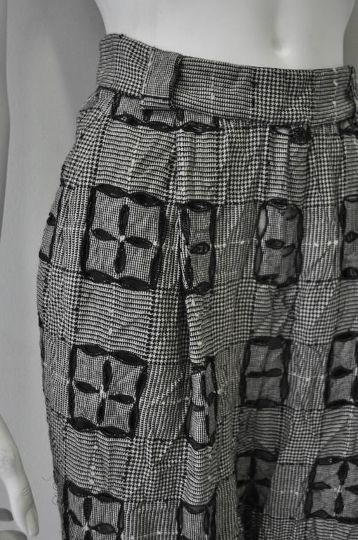 Women's Extremely Original Atelier Versace Black and White Perforated Check Print Pants For Sale