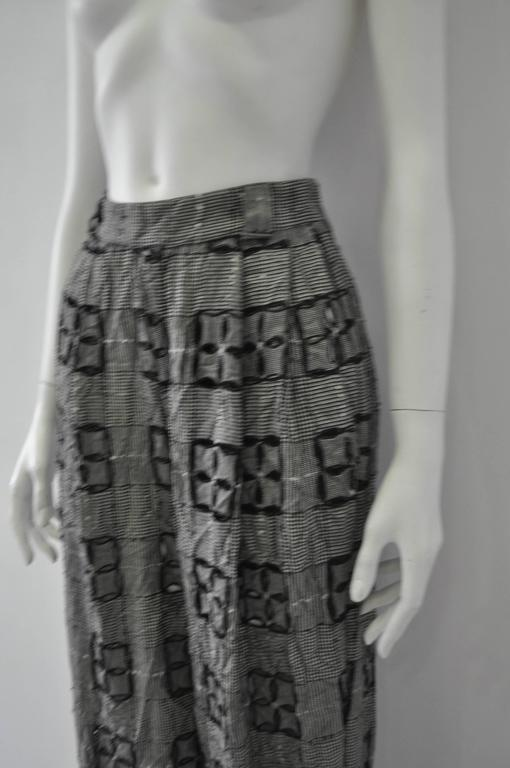 Extremely Original Atelier Versace Black and White Perforated Check Print Pants For Sale 1
