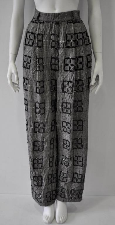 Extremely Original Atelier Versace Black and White Perforated Checked Pants