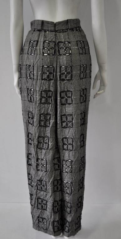 Extremely Original Atelier Versace Black and White Perforated Check Print Pants In New Never_worn Condition For Sale In Athens, Agia Paraskevi