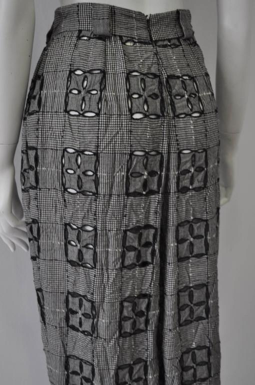 Extremely Original Atelier Versace Black and White Perforated Check Print Pants For Sale 3