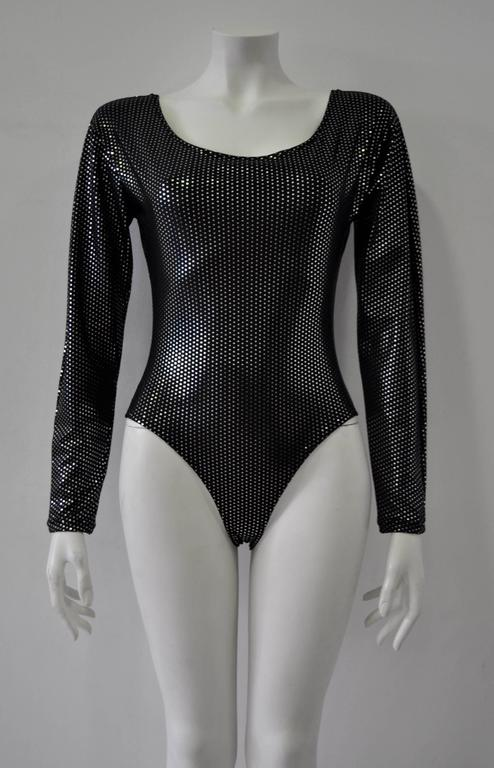 Space Age Silver Polka Dot Black Bodysuit 2