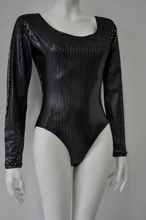 Space Age Silver Polka Dot Black Bodysuit 3