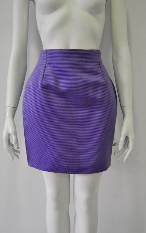 Classic Gianni Versace Lavender Ribbed Silk Mini Skirt 2
