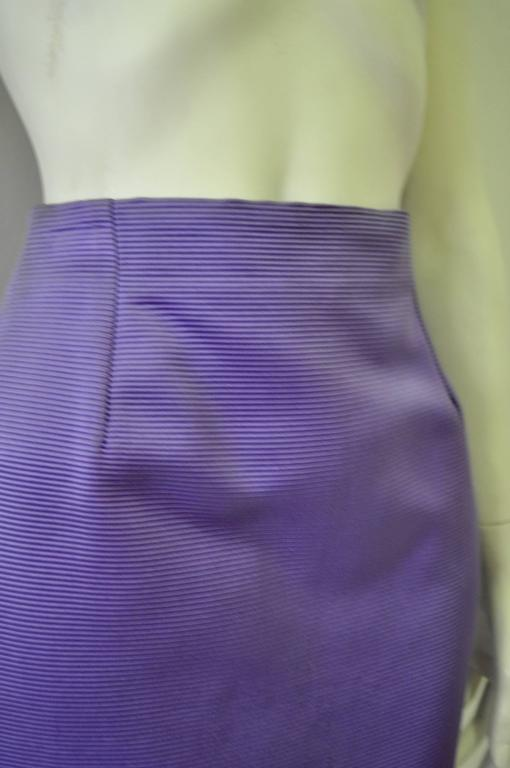 Classic Gianni Versace Lavender Ribbed Silk Mini Skirt 3