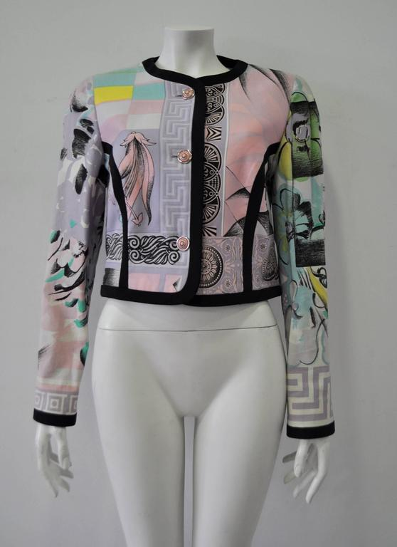 "Iconic Gianni Versace Istante Pastel Meandros ""Greek Key"" Printed Jacket 2"