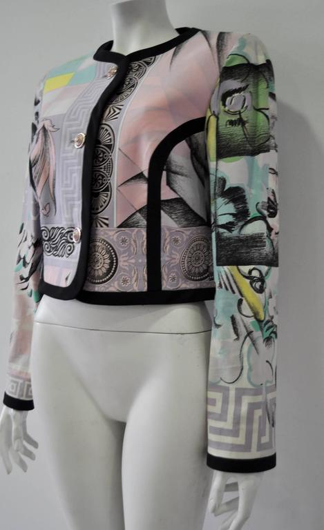 "Iconic Gianni Versace Istante Pastel Meandros ""Greek Key"" Printed Jacket 3"