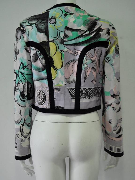 "Iconic Gianni Versace Istante Pastel Meandros ""Greek Key"" Printed Jacket 4"