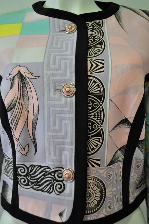 "Iconic Gianni Versace Istante Pastel Meandros ""Greek Key"" Printed Jacket 5"