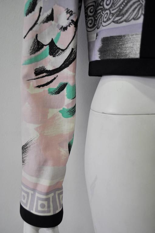 "Iconic Gianni Versace Istante Pastel Meandros ""Greek Key"" Printed Jacket 7"
