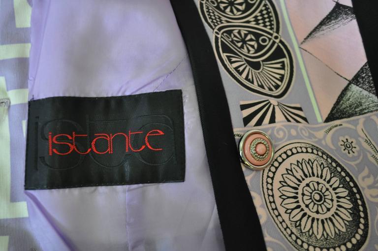 "Iconic Gianni Versace Istante Pastel Meandros ""Greek Key"" Printed Jacket 8"