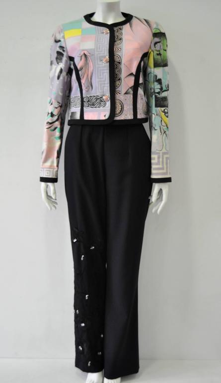 "Iconic Gianni Versace Istante Pastel Meandros ""Greek Key"" Printed Jacket 9"