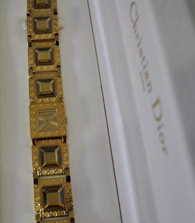 Authentic Christian Dior Jewel Encrusted Gold Tone Link Watch In As new Condition For Sale In Athens, GR