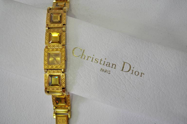 Women's Authentic Christian Dior Jewel Encrusted Gold Tone Link Watch For Sale