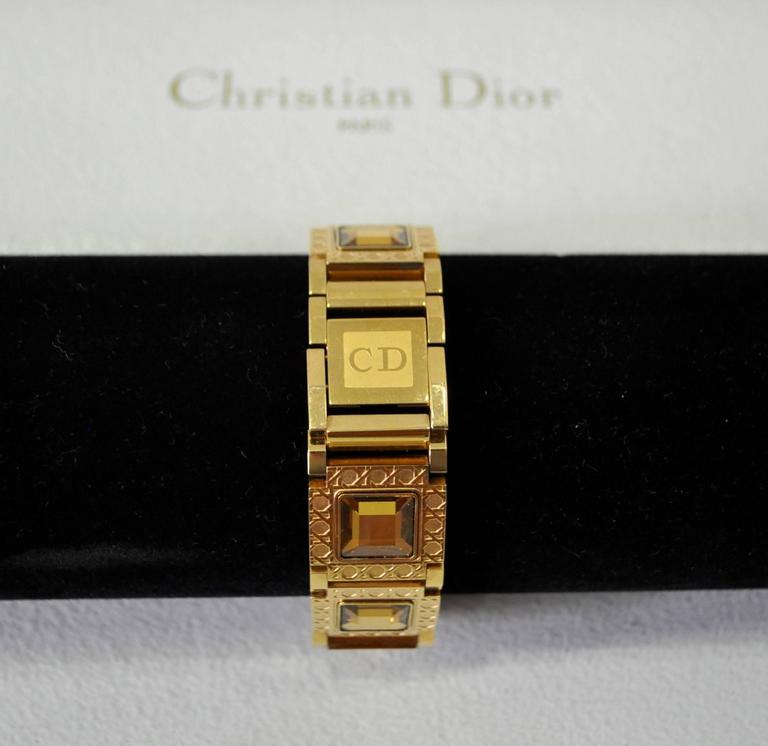 Authentic Christian Dior Jewel Encrusted Gold Tone Link Watch For Sale 1