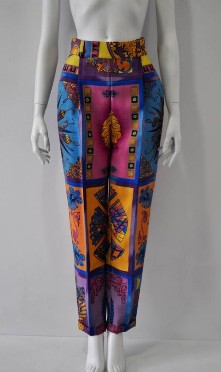 Iconoclastic Gianni Versace Medusa Pop Print High Waisted Pants, Fall 1991