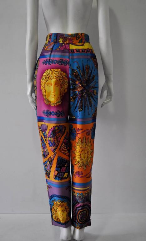 Women's Iconoclastic Gianni Versace Medusa Pop Print High Waisted Pants For Sale