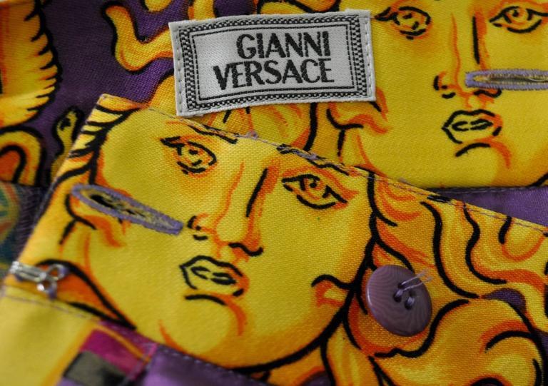 Iconoclastic Gianni Versace Medusa Pop Print High Waisted Pants For Sale 3