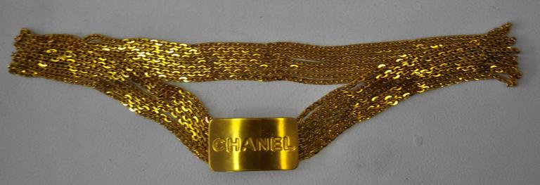 Iconic Chanel Eponymous Logo Buckle Multistrand Goldtone Chain Belt 2
