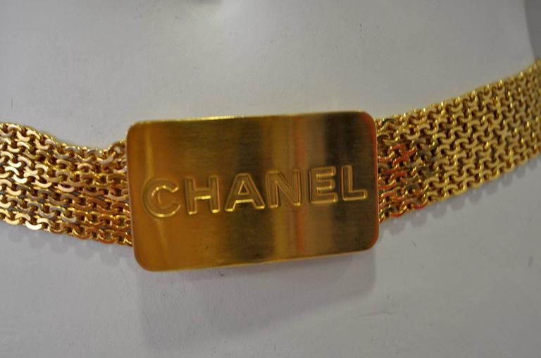 Iconic Chanel Eponymous Logo Buckle Multistrand Goldtone Chain Belt In Excellent Condition For Sale In Athens, Agia Paraskevi