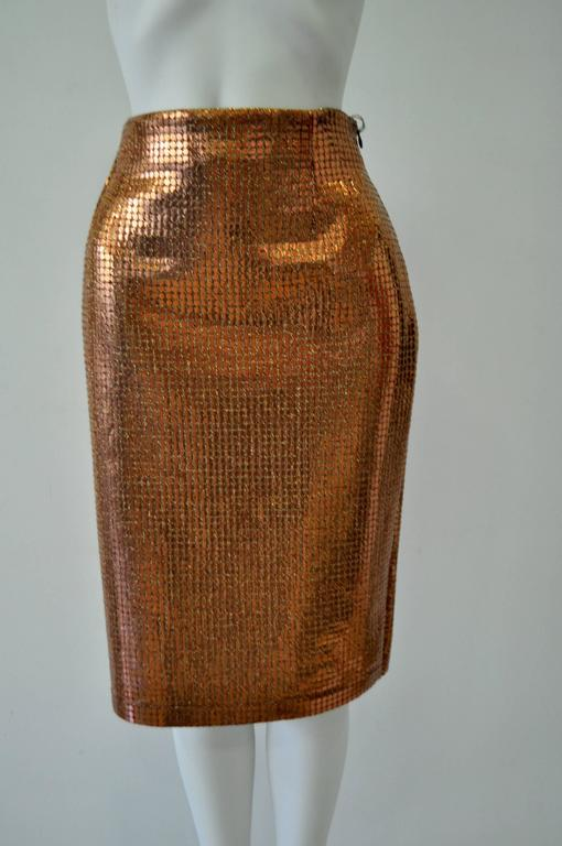 Vibrant Gianfranco Ferre Copper Sequin Pencil Skirt 2