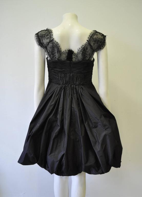 Women's Haute Oscar de la Renta Black Silk Taffeta Bubble Cocktail Dress For Sale