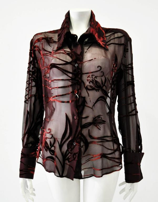 Black Mod Angelo Mozzillo Sheer Burgundy Burnt Out Velvet Shirt For Sale