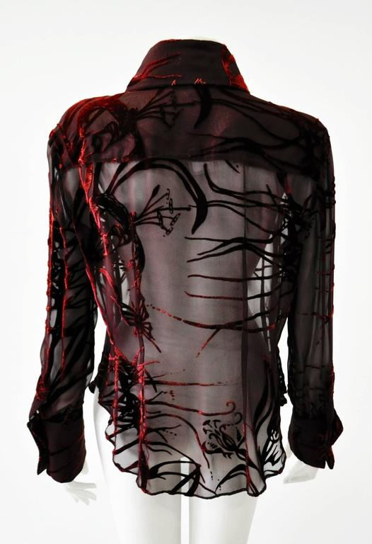 Women's Mod Angelo Mozzillo Sheer Burgundy Burnt Out Velvet Shirt For Sale