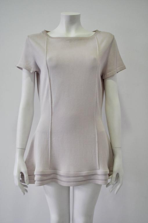 Origianal Claude Montana Lilac Spaced Aged Ribbed Hem Peplum Top