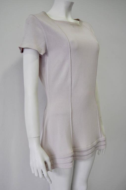 Gray Original Claude Montana Lilac Spaced Aged Ribbed Hem Peplum Top For Sale