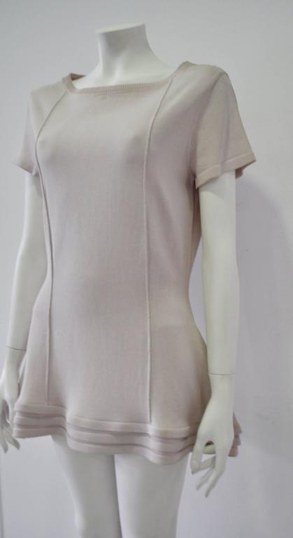 Original Claude Montana Lilac Spaced Aged Ribbed Hem Peplum Top In New Never_worn Condition For Sale In Athens, Agia Paraskevi