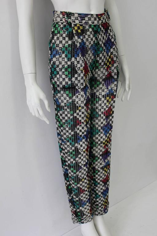 One Of A Kind Gianni Versace Couture Punk Multi-Coloured Net Woven Pants Fall 1993