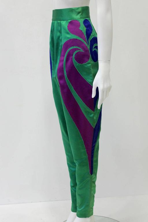 Blue One Of A Kind Gianni Versace Silk Applique Jodhpurs Spring 1990 For Sale