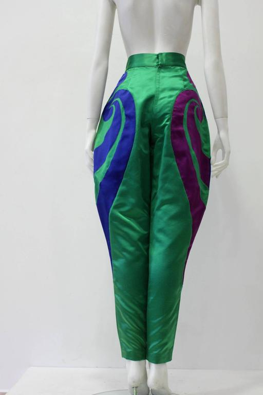 One Of A Kind Gianni Versace Silk Applique Jodhpurs Spring 1990 For Sale 1
