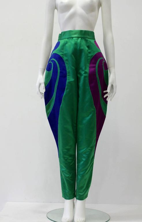 One Of A Kind Gianni Versace Silk Applique Jodhpurs Spring 1990. As Shown In The Show Of Spring-Summer 1990 Worn With Chain Metal Blouse. It Is A Fascinating Outfit Even For Red Carpet Presentation.