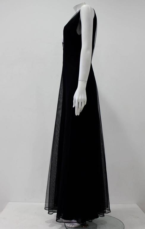 Early Tom Ford For Gucci Black Silk And Tule Elegant Maxi Dress 1998's. A Three Layered Silk Georgette And Tule Dress With An Emphasised V-Neck Front And Back Which Oozes Charm And Elegance.