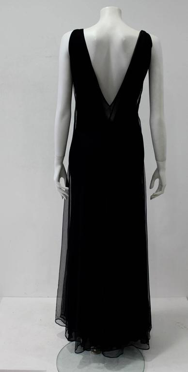 Early Tom Ford For Gucci Black Silk And Tule Maxi Dress 1998's In Excellent Condition For Sale In Athens, Agia Paraskevi