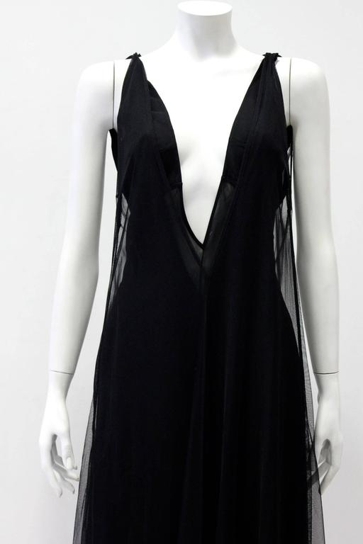Women's Early Tom Ford For Gucci Black Silk And Tule Maxi Dress 1998's For Sale
