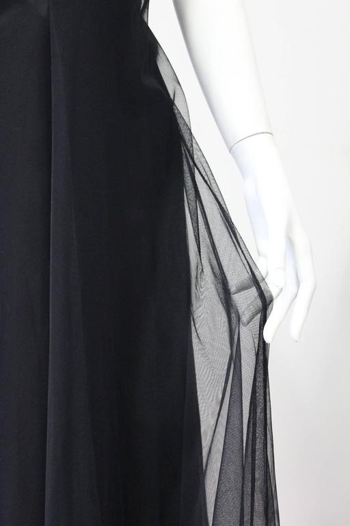 Early Tom Ford For Gucci Black Silk And Tule Maxi Dress 1998's 7
