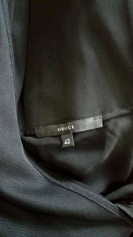 Early Tom Ford For Gucci Black Silk And Tule Maxi Dress 1998's For Sale 5