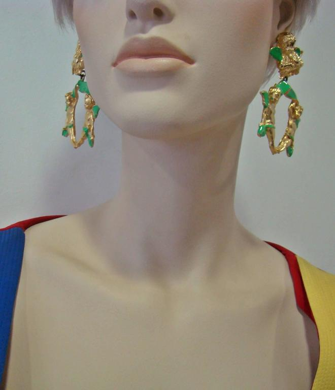 Very Rare Gianni Versace Ugo Correani Cherub Drop Earrings 1990, 8cm