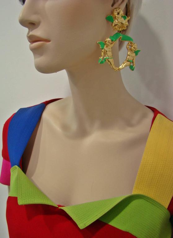 Women's Very Rare Gianni Versace Ugo Correani Cherub Drop Earrings 1990 For Sale