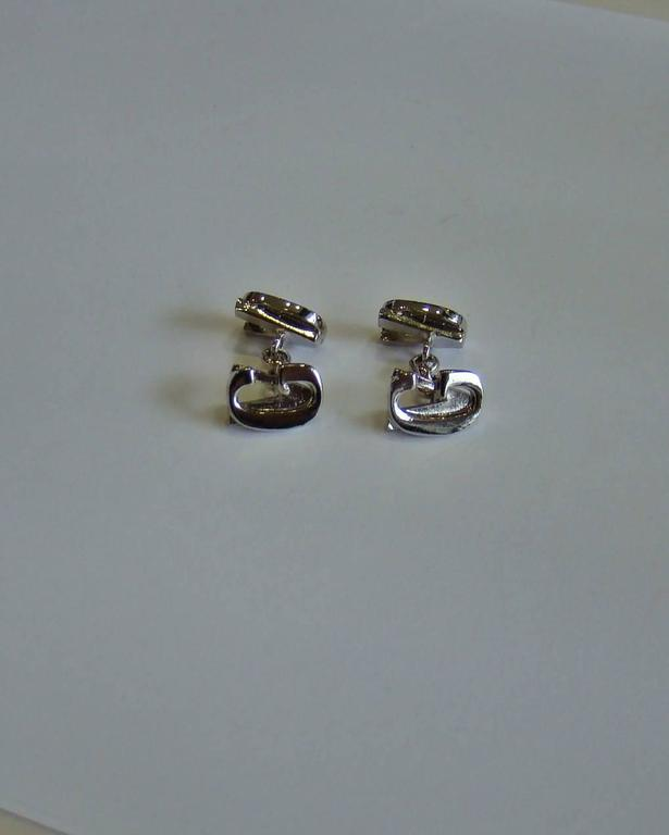 Black Gianni Versace Silver Cufflinks 1990's For Sale