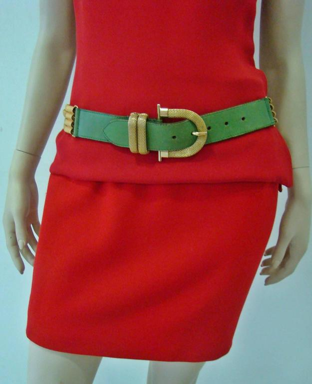 Black Doppia Vita Green Leather And Gold Chain Belt 1980's For Sale