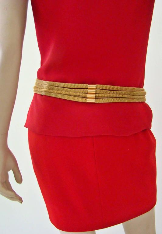 Women's Doppia Vita Green Leather And Gold Chain Belt 1980's For Sale