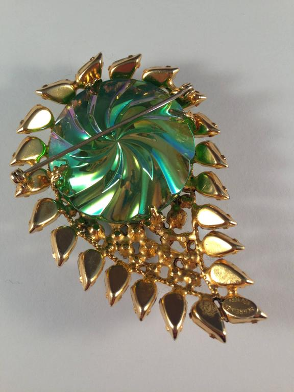 Schreiner Brooch 1960s Green and Blue Paisley  4