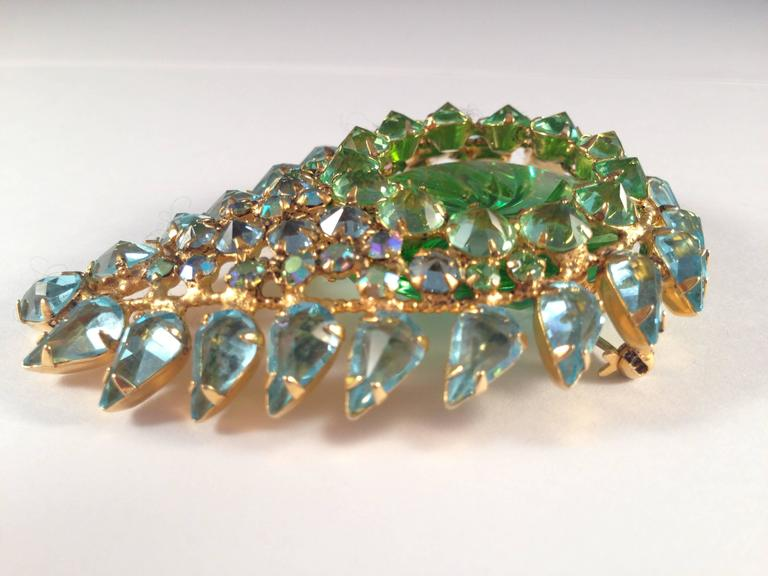 Schreiner Brooch 1960s Green and Blue Paisley  3